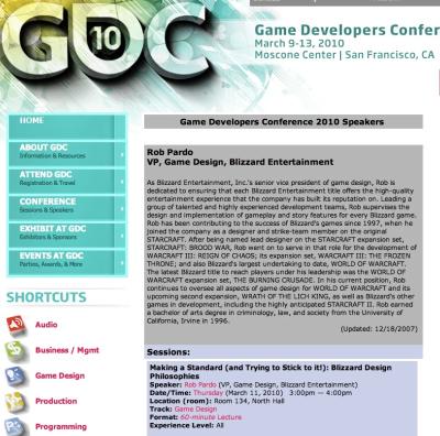Ankündigung der GDC