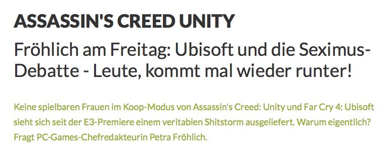 PC Games Kolumne von Petra Fröhlich